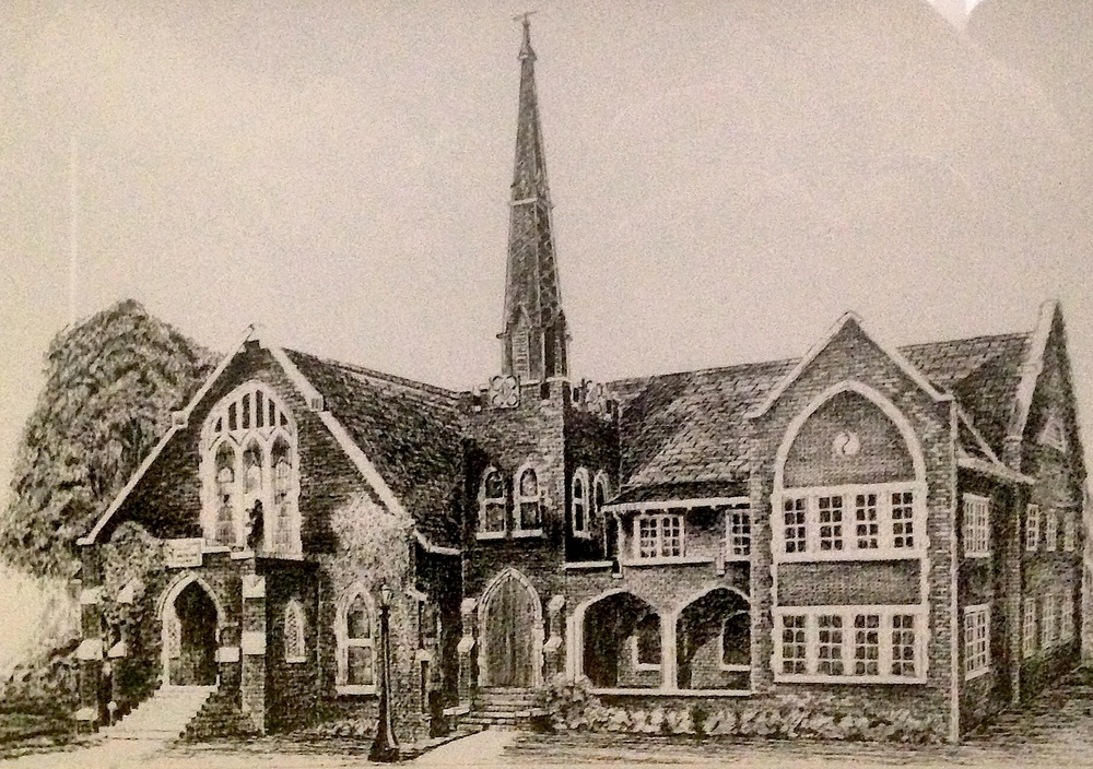 A drawing of the Presbyterian Church of Ruston, located on North Bonner Street, by Dr. White. The church was founded in 1923 and listed on the National Register of Historic Places in 1984.