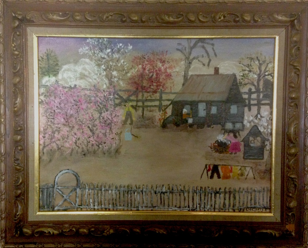 A painting by Mrs. DeCinter Farley depicting life on her family's farm in Claiborne Parish.
