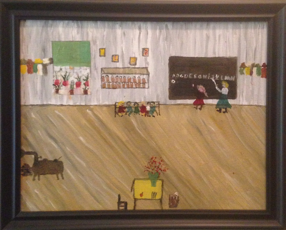 A schoolhouse scene painted by Mrs. DeCinter Farley.