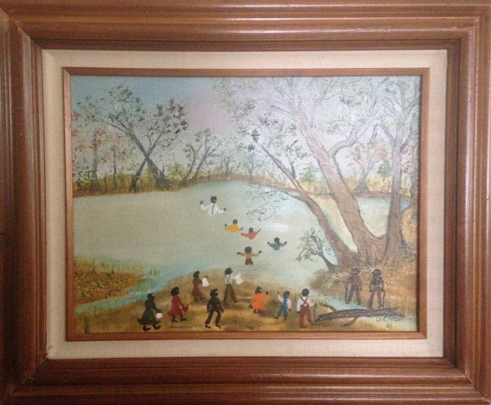 An example of Mrs. DeCinter Farley's paintings depicting scenes from her family's farm in Claiborne Parish.
