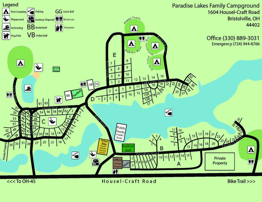 Map Paradise Lakes Family Campground