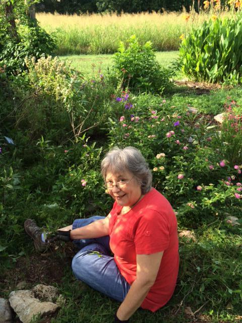 Scottie Davis hard at weeding!