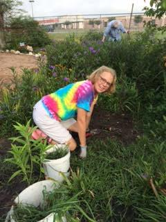 Charlotte LaRoche hard at work in the butterfly garden.
