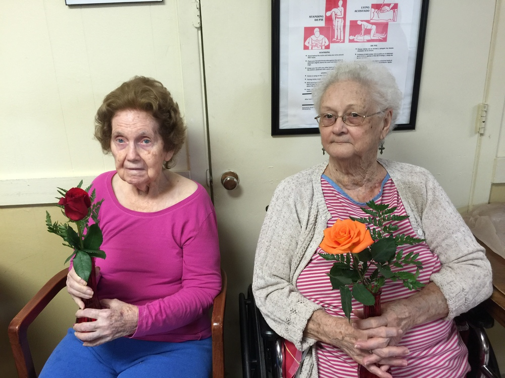 Residents of Brenham Care Center were thrilled to take their roses back to their rooms.