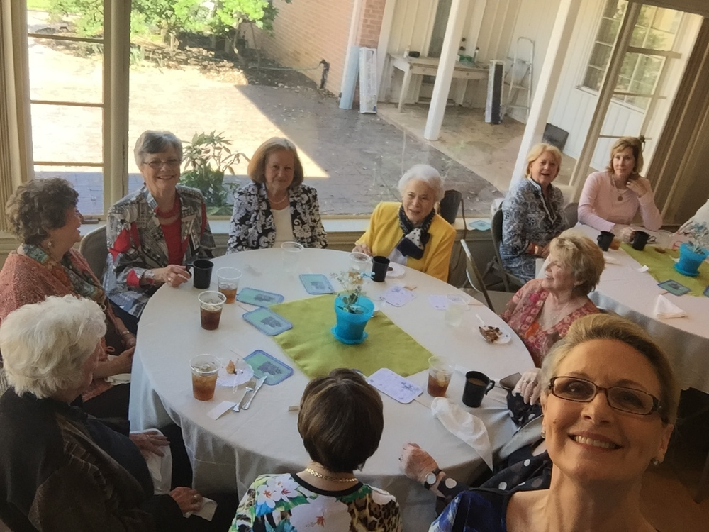 "Here they are (a couple of them...) in a candid photo as we sat down to lunch. Our first ""garden club selfie"" and a photo bomb by photographer, Sandy Batt."