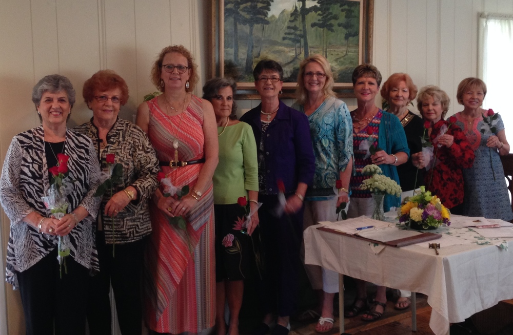 Left to Right: Jere Longhofer, Parliamentarian; Charleen Jones, Historian; Charlotte LaRoche, Corresponding Secretary; Rita Meaux, Treasurer; Nancy Low, Recording Secretary; Fourth Vice-President, Sandy Batt; Co-Third Vice-Presidents, Debi Meschwitz, Freda Martin; Second Vice-President, Gail Pinto; First Vice-President, Rhonda Ehlert. Not present was incoming President, Linda Blum.   Thanks to all the ladies for serving in their respective positions. It's going to be a great term!    Last, but not least, our tireless president, Jere Longhofer, was honored for serving with such incredible dedication and professionalism.  Jere has been a very active president in our club and on the district level as well. We presented her with a lifetime membership to National Garden Club.  Thank you for all you have done and accomplished in our club the past two years, Jere.  Well done!