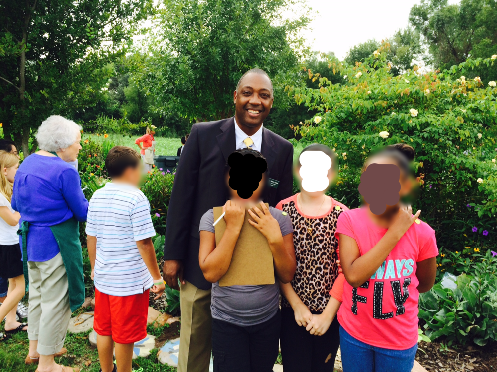 Brenham ISD Superintendent, Dr. Jackson, spent a little time in the Butterfly Garden and visited with some of the fourth graders.