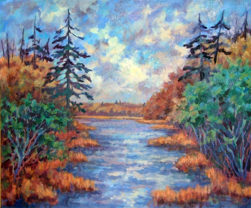 """River View"" oil"