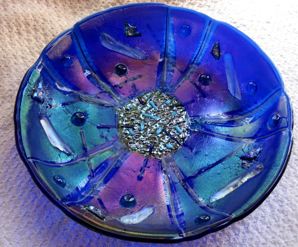 Blue Fused Glass Bowl