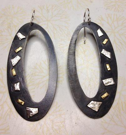 Steel, Sterling and Gold Earrings
