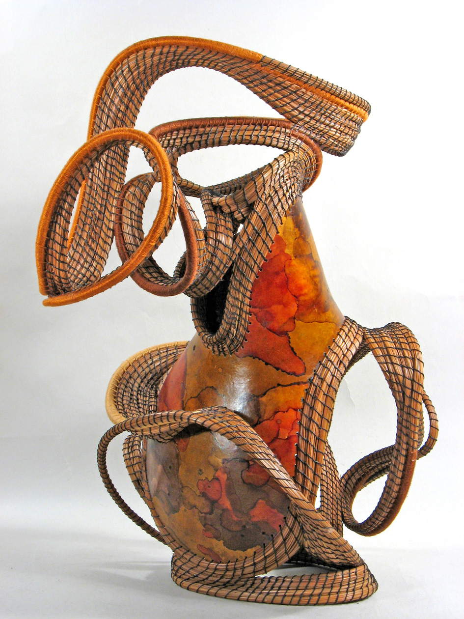 """Copper Canyon Shadows"" pine needle sculpture"