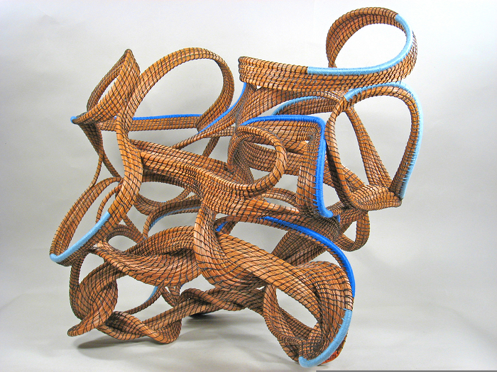 """Tangled in Blue"" pine needle sculpture"
