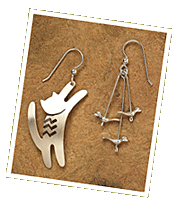 Cat and Bird Sterling Earrings