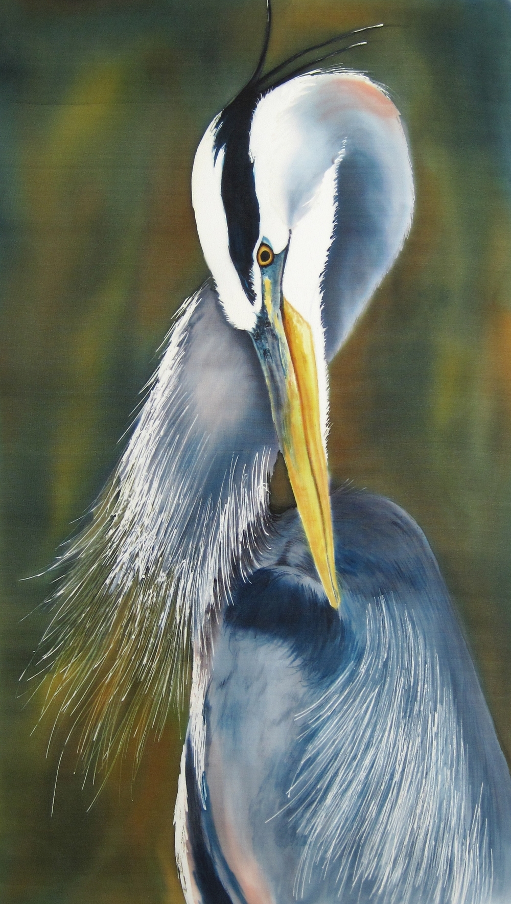 """Blue Heron""  Painting on Silk"