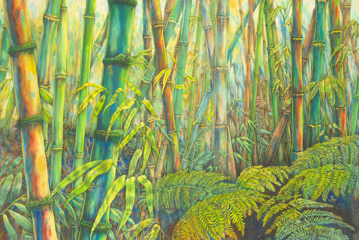 """Bamboo Jungle"" watercolor"