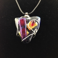 Fused glass pendant wire wrapped
