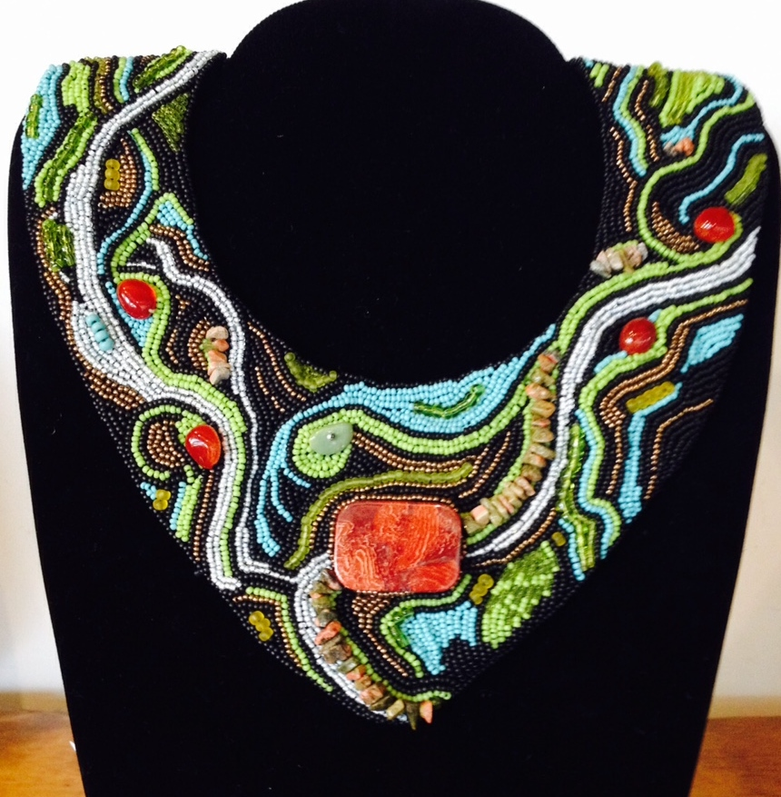 """Peaceful Waters"" beaded neckpiece"