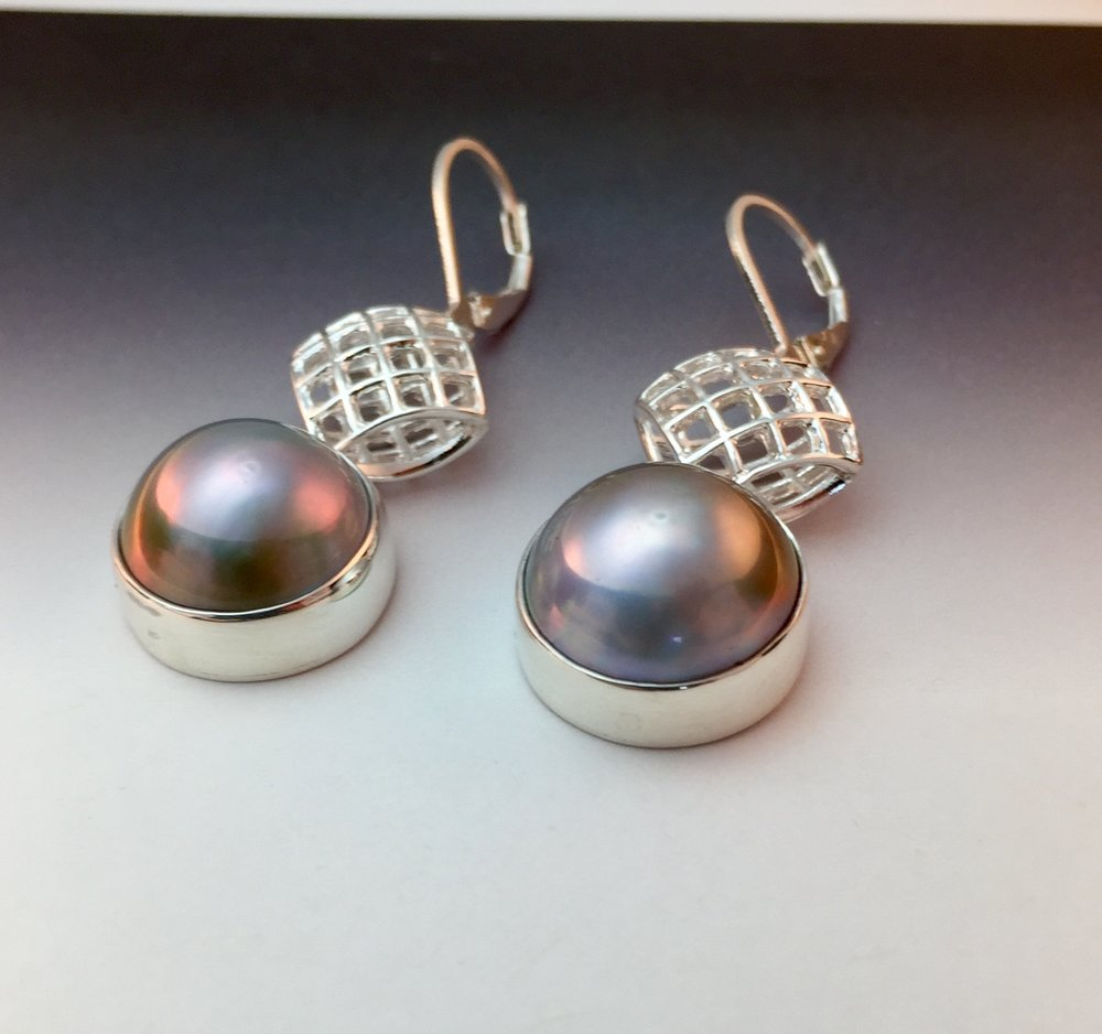 Tahitian pearl earrings by Marie Scarpa