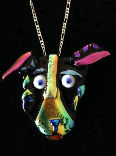 """Dog"" fused glass pin/pendant by Kara DeBacker"