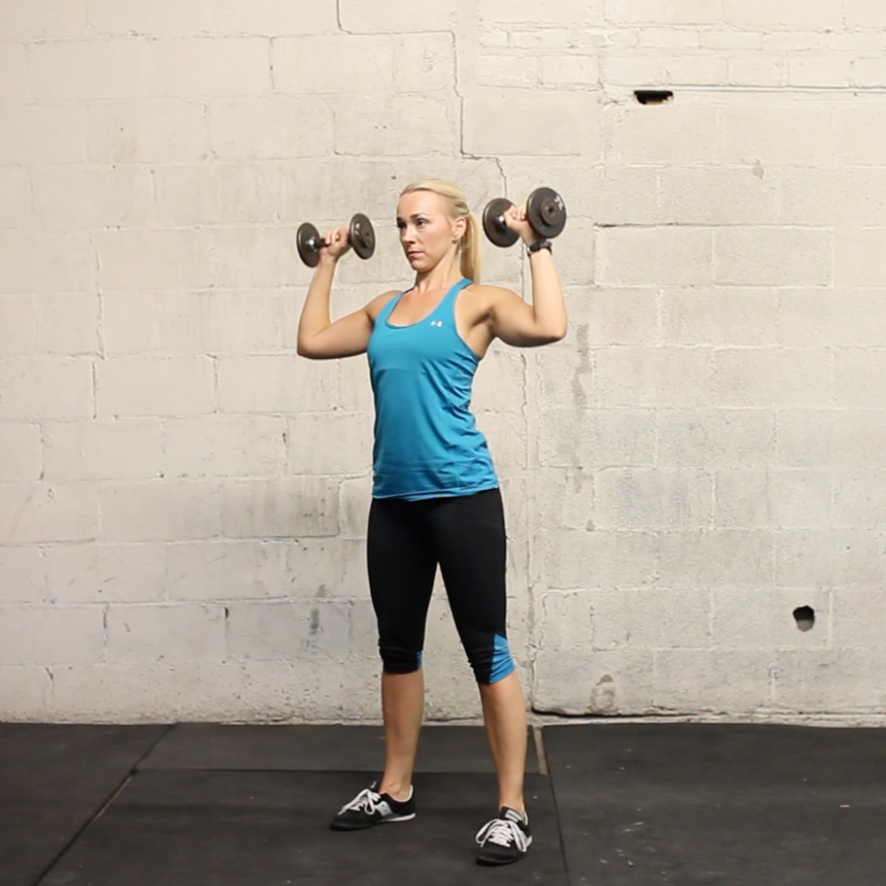 Warm up superset: overhead press + squat
