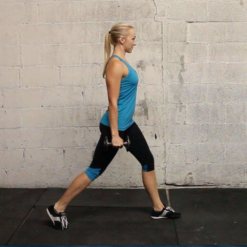 split stance lunge with dumbbells