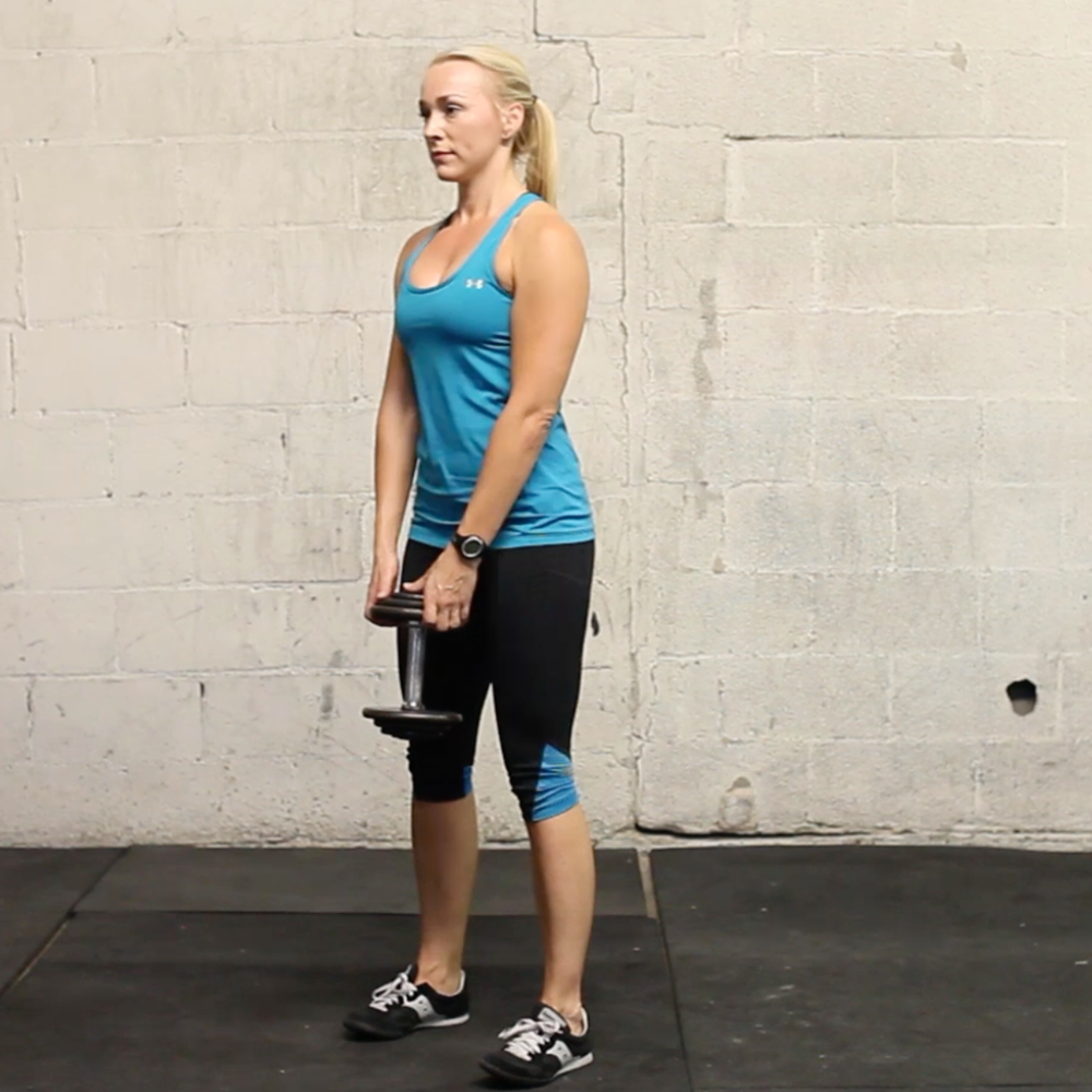 sumo squat with 1 dumbbell