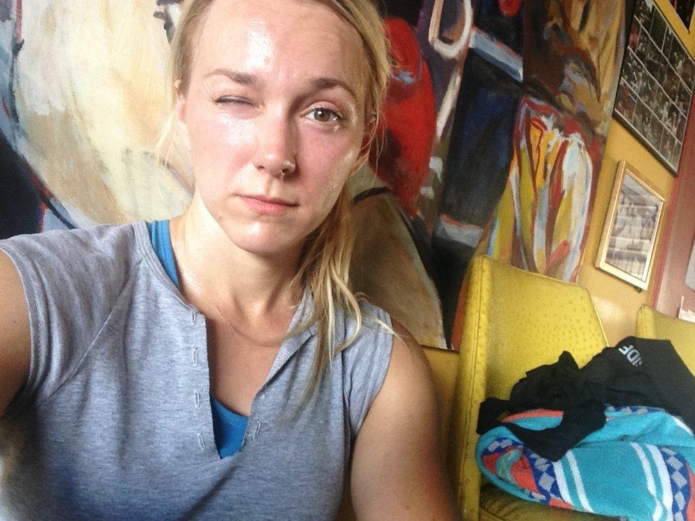 Sweaty post workout mess at  Richard Lord's Boxing Gym.