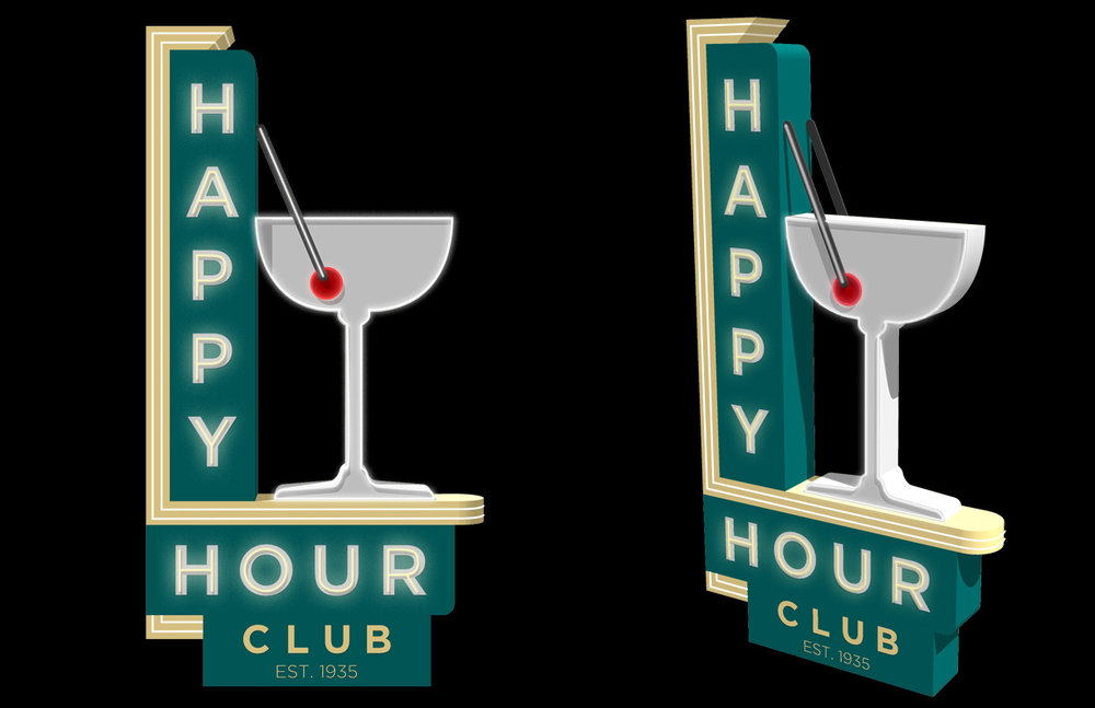 Retro Sign Series - Happy Hour  Created in Sketchup Touched up in Photoshop