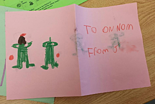 "Niece the Elder made Om Nom a ""Welcome Home"" card while I was waiting for the yarn order to show up."