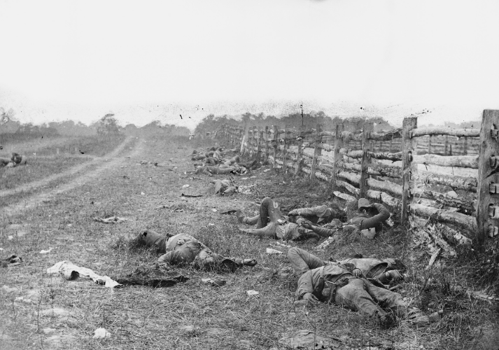 Dead Confederate soldiers from Starke's Louisiana Brigade, on the Hagerstown Turnpike, north of the Dunker Church. Photograph by Alexander Gardner. Wikipedia.