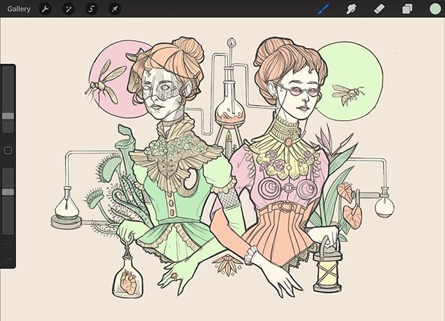 Some colour work I forgot to post. I have loads of other work going on right now so I haven't really had time to finish personal illustrations 🦑 I'll be done with my bell jar ladies soon so I'll be able to come back to this later this month! . . . #art #illustration #illo #process #procreate #ipadproart #victorian #doitfortheprocess #womenwhodraw  #illustratie #ladyartist #outlines #bnw #drawinginprogress #illustration_best #illustrationartists #girlswhodraw #draweveryday #digitalsketchbook #wip #sgart #sgartists #sketchbook #digitalsketching #artist_sharing #botanicalillustration #floralillustration