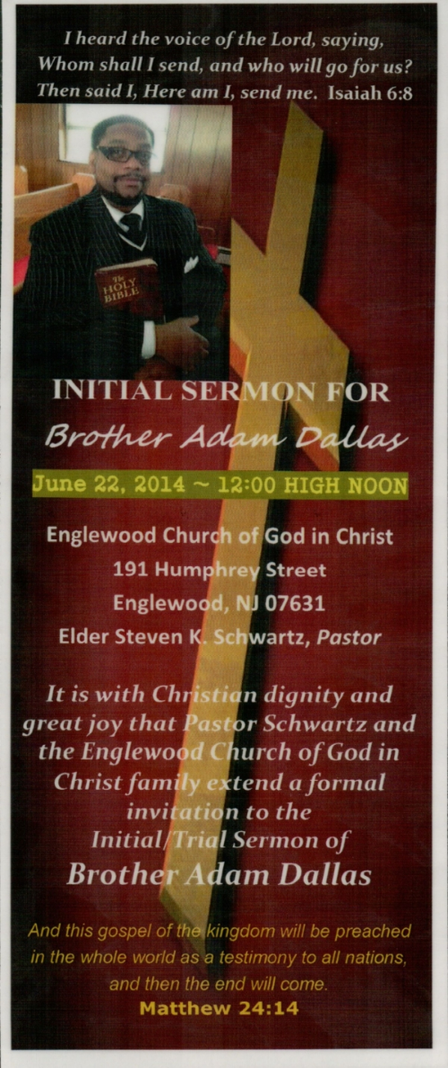 Announcing Initial Sermon Bro Adam Dallas Englewood Church of