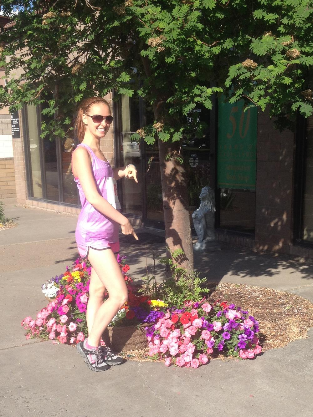 Enjoying the matching flowers post-run :)
