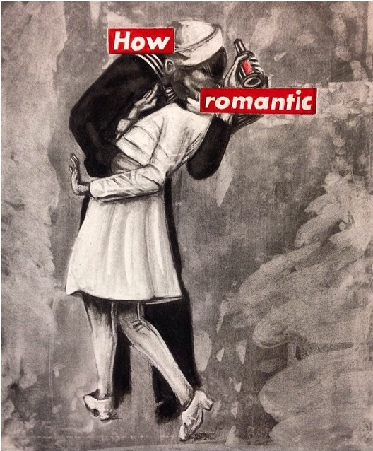 How Romantic // Barbara Kruger || The Kissing Sailor // Drawing Appropriation (Charcoal/colored pencil), 2015