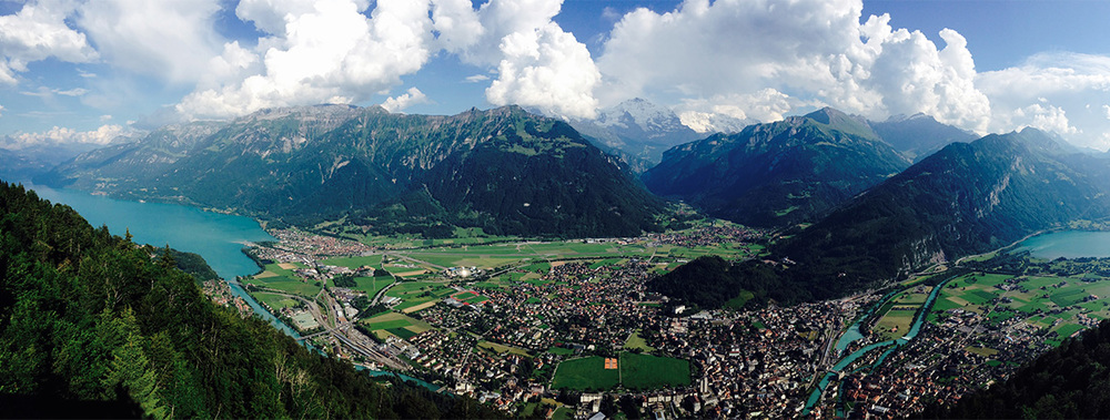 View from Harder Klum looking over Interlaken Switzerland