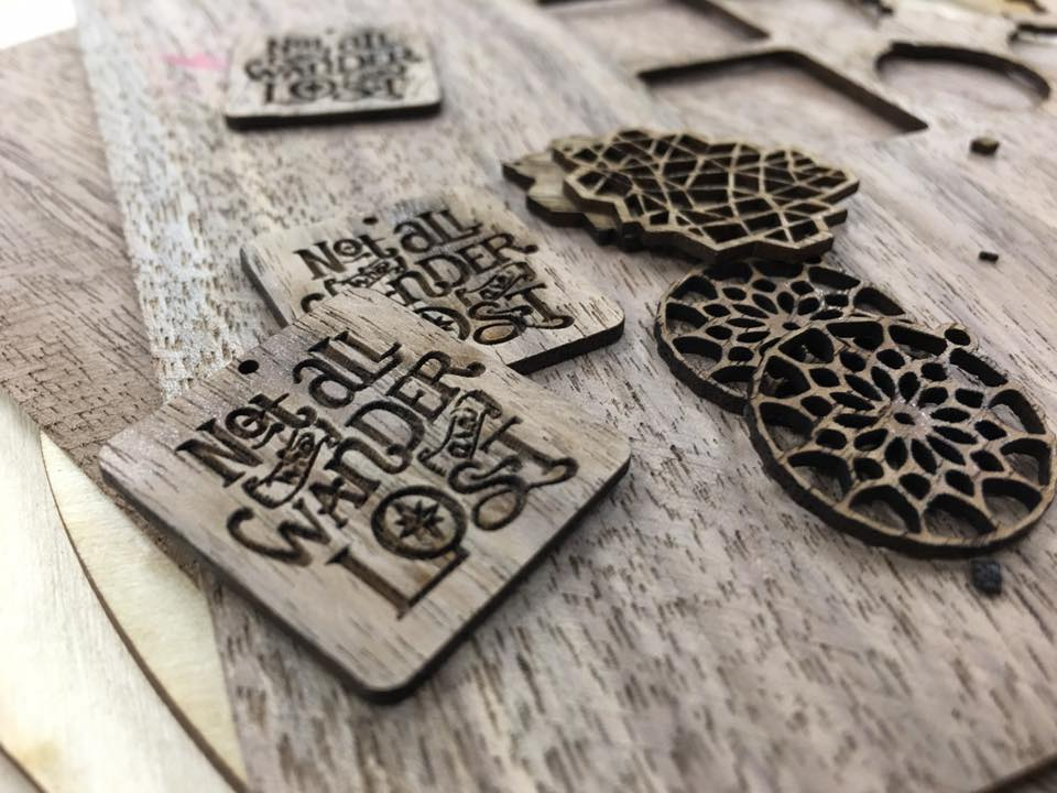 Laser cut walnut wood jewelry and charms