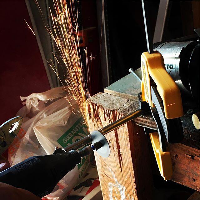 Ooh sparks! #prototype #standingdesk #iot #maker #hacker #startup #entrepreneur #workspace