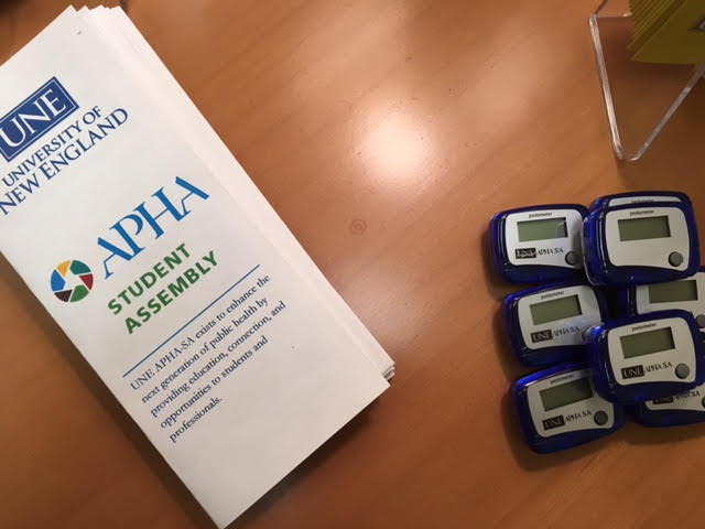 Promotional brochure and pedometers for UNE APHA-SA, a project on which I took the lead in development, ordering, and coordinating distribution in March 2017.