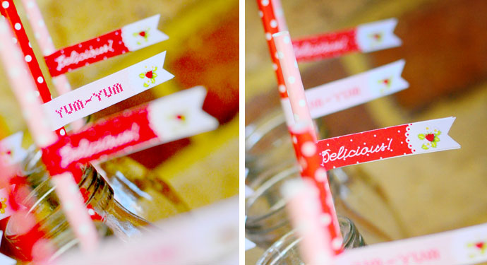 Sweet and whimsical strawberry themed birthday party flags