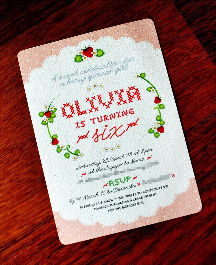 strawberry themed birthday invitation by Tickled Pink Confetti