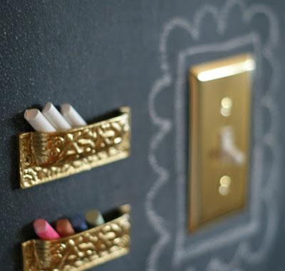 Brass Light Switch + Chalkboard Paint