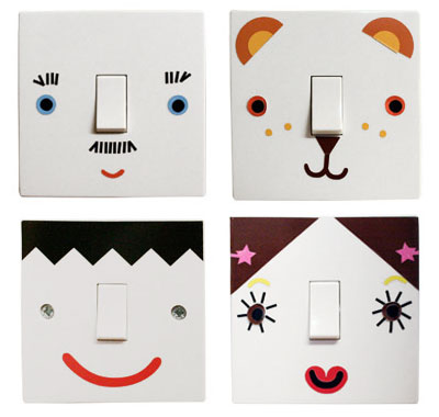 Smiley Face Lamp Switch Decals