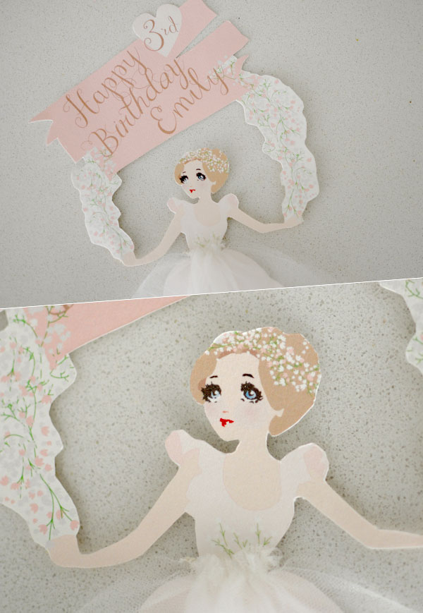 DIY Ballerina Theme Birthday Party Cake Topper