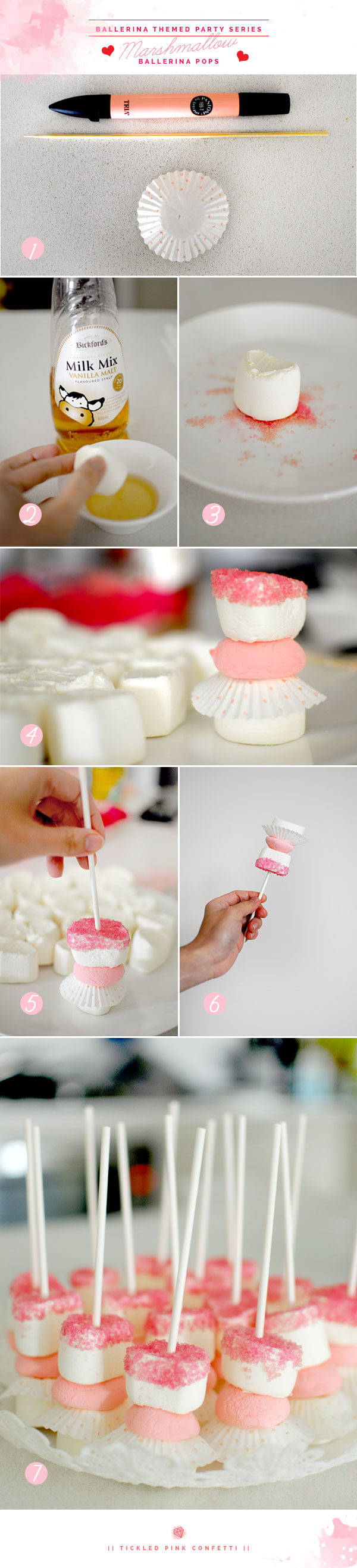 Yummy & Scrumptious Marshmallow Ballerina Pops Tutorial | Ballerina Themed Birthday Party Series