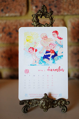 Veronika's Little World || Webcomic || Downloadable 2016 Free Printable Calendar || December