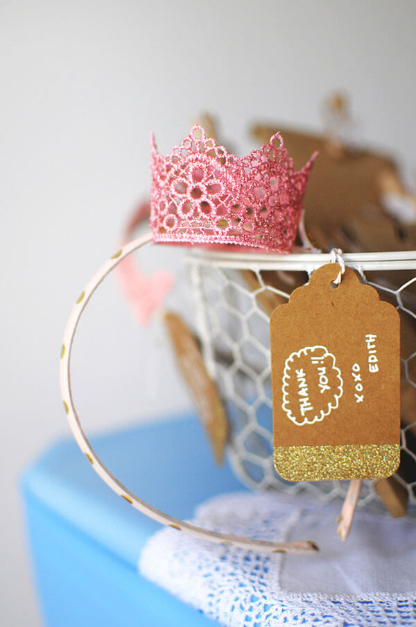 Blue Butterfly Cinderella Birthday Party | DIY Lace Crown Headband