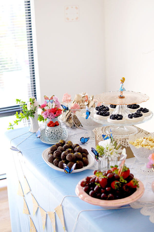 Blue Butterfly Cinderella Birthday Party | Dessert Table