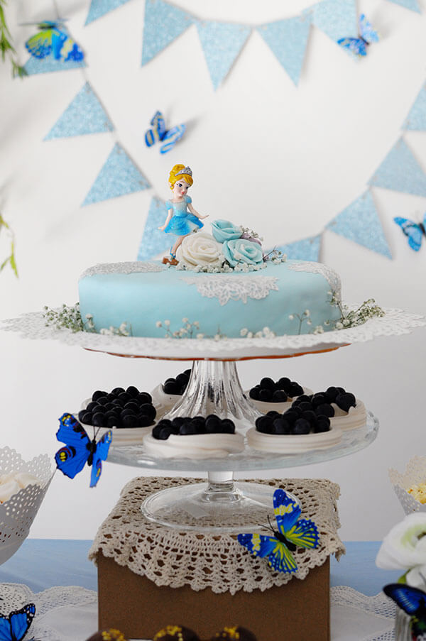 Blue Butterfly Cinderella Birthday Party | Cake