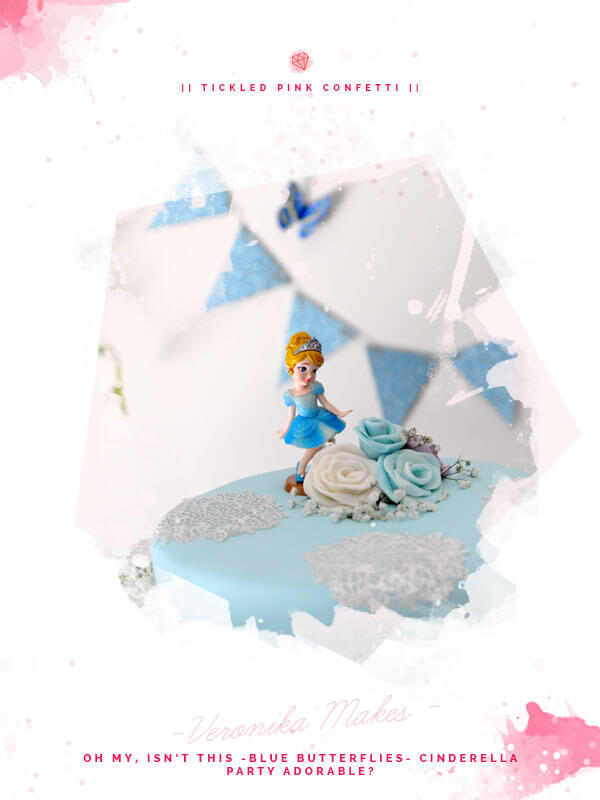 Simply Adorable Blue Butterfly Cinderella Themed Birthday Party | DIY Dessert Table