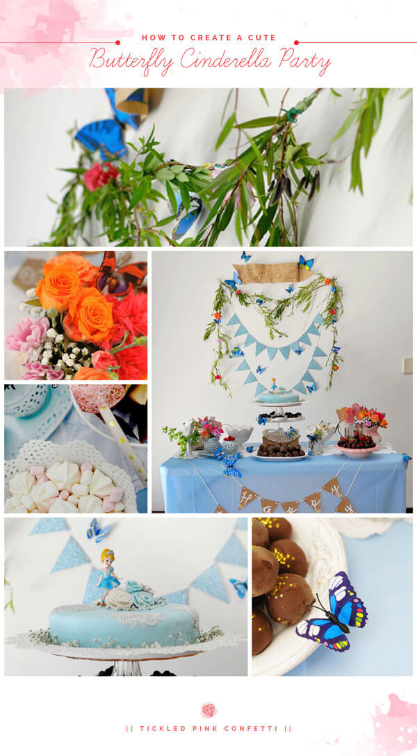 Simple and Adorable Blue Butterfly Cinderella Themed Birthday Party | Dessert Table | Floral Garland | Buntings